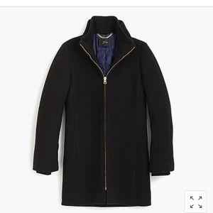 NWT Black J Crew Italian Wool Lodge Coat Size 2